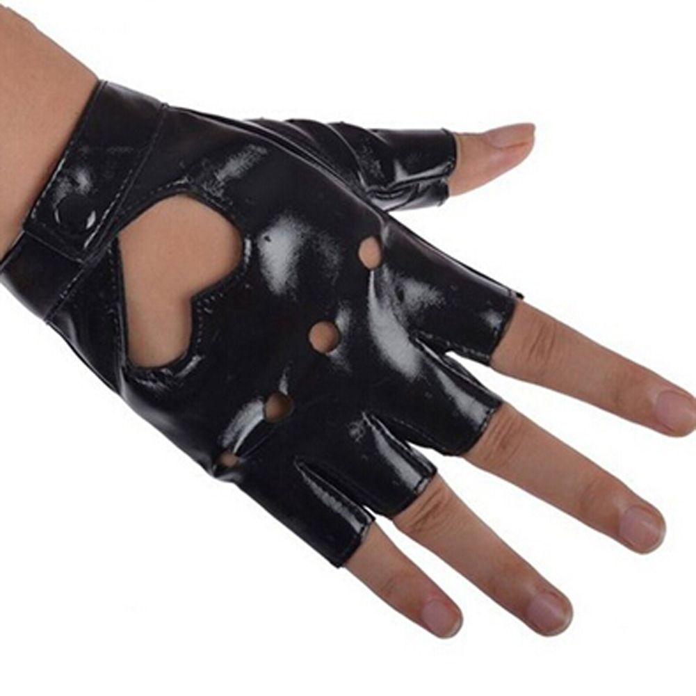 Women PU Leather Motorcycle Bike Car Fingerless Performance Gloves NFE99