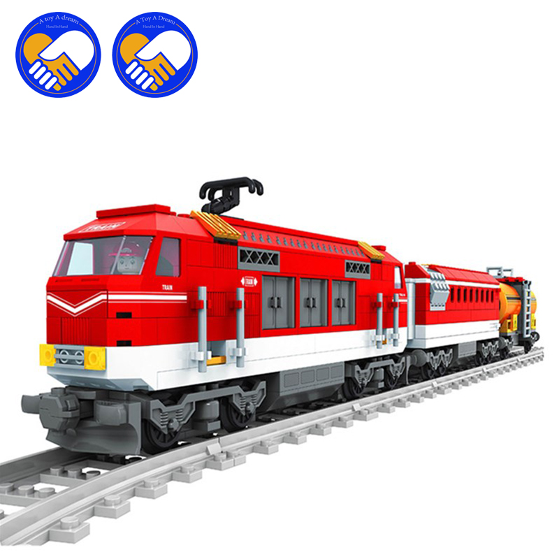 (A Toy A Dream)588pcs City Series Train with Tracks Building Blocks Railroad Conveyance Kids Model Bricks Toys Compatible lepin city town city square building blocks sets bricks kids model kids toys for children marvel compatible legoe