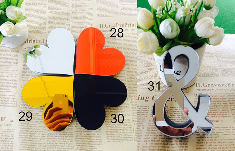 1pcs acrylic sticker love characters letters english 3d mirror wall stickers alphabet logo home decoration s2