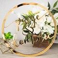 Sinal de Casamento Estilo Hoop Círculo Com Nome personalizado Decoração Do Casamento Da Foto Prop Parede Sinal para a Noiva & Do Noivo vestido de Casamento Original presente do partido
