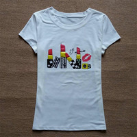 Harajuku Style T Shirt Women Tops Fashion Sexy Lipstick 3d Print T Shirt Clothes Women Tshirt