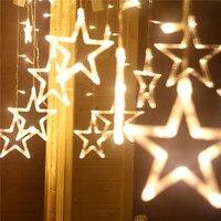 2 메터 문자열 커튼 요정 조명 스타 고드름 꽃줄 빛 크리스마스 장식 홈 야외 조명 체인 파티 조명