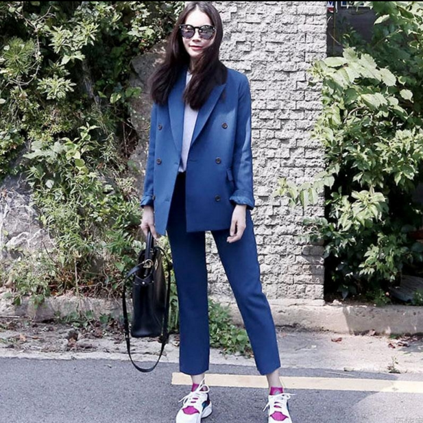 Set female 201 spring and autumn new fashion loose casual small suit jacket + nine pants fashion elegant two-piece