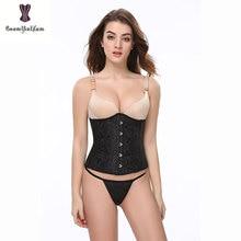 0d85644371d free shipping underbust corset waist trimmer mini corset body slim cupless  vintage costume plastic boned size