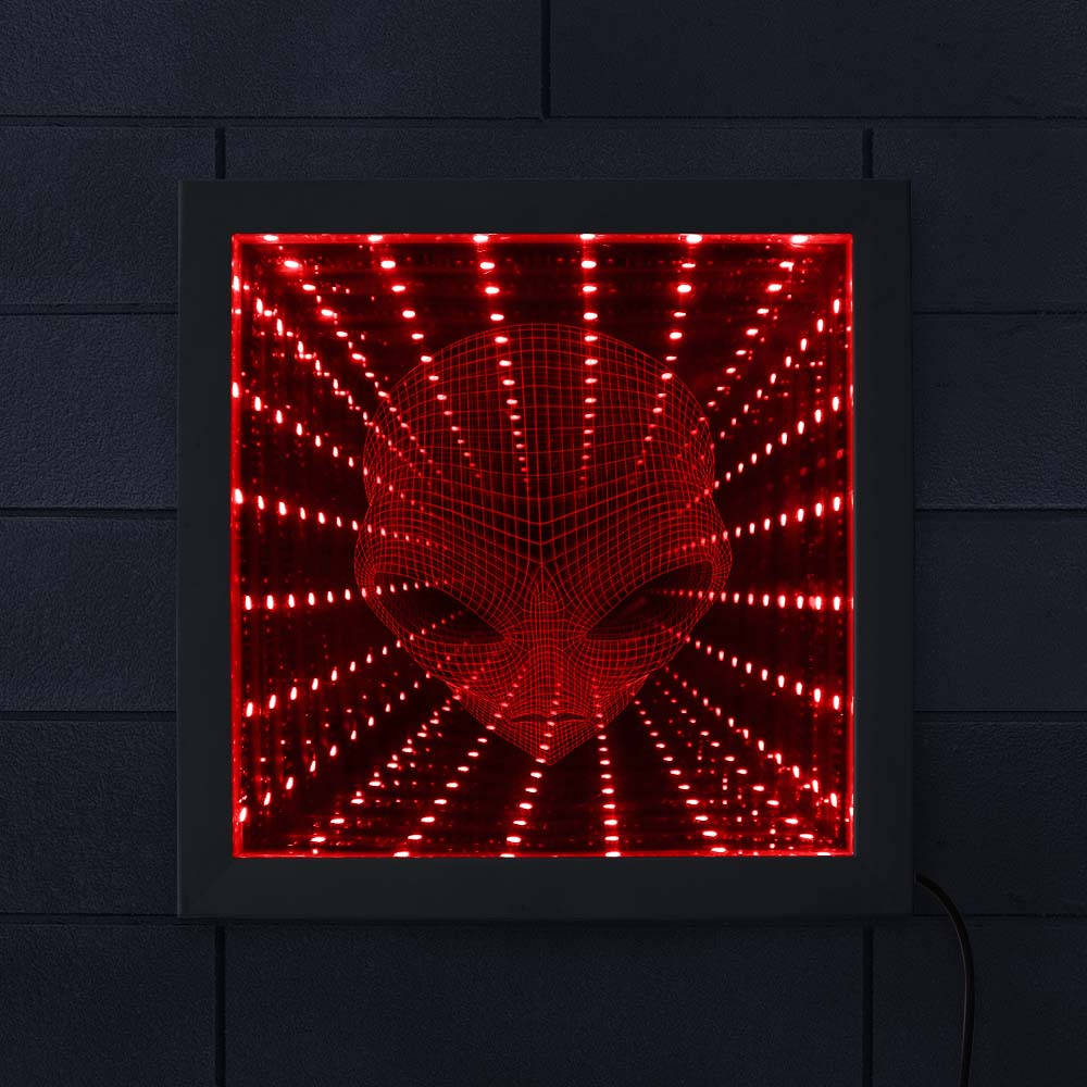 3D Pop-eyed Alien LED Vortex Tunnel Infinity Mirror Stunning Optical Illusion Lighted Mirror Alien Face Illusion Mirror Frame