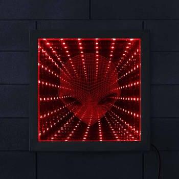 3D Pop gözlü Alien LED Vortex Tünel Sonsuzluk Ayna Çarpıcı Optik Illusion Işıklı Ayna Alien Yüz Illusion Ayna Çerçevesi