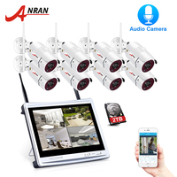 ANRAN 8CH Беспроводная аудио запись камеры наблюдения системы 1080 P HD IP наружного ночного видения CCTV камеры безопасности системы