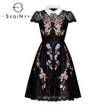 SEQINYY ลูกไม้ 2020 ฤดูร้อนใหม่แฟชั่นแขนสั้นสีสันดอกไม้เย็บปักถักร้อย A   Line เข่าชุดผู้หญิงสีดำ