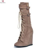 Original Intention Super Stylish Women Knee High Boots Fashion Round Toe Wedges Boots Fashion Brown Shoes