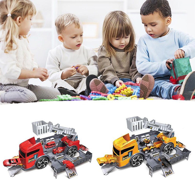 Kids Puzzle Toys Deformation Fire Engineering Vehicle Storage Parking Lot Parent Child Interaction Inertia Car Model Set in Diecasts Toy Vehicles from Toys Hobbies
