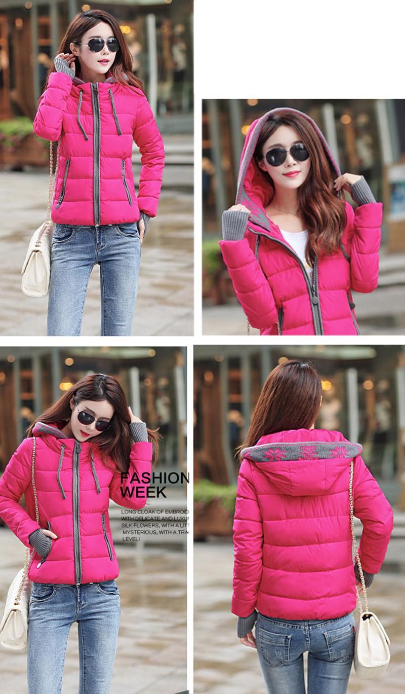 Women Winter Coat Long Sleeve Print Floral Hooded Slim Winter Parka Plus Size Cotton-Padded Jackets 2XL (12)