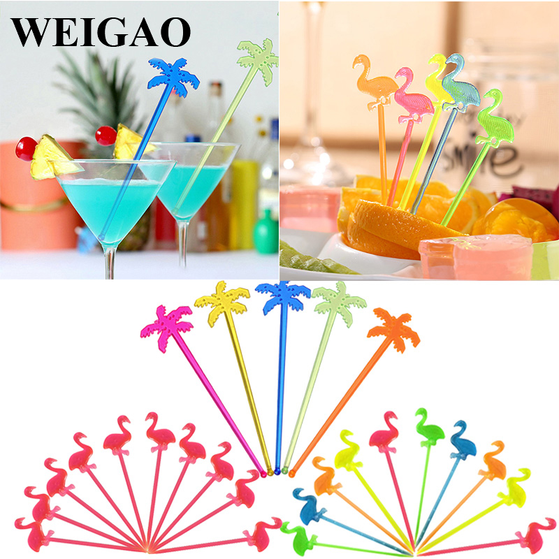 WEIGAO Summer Juice Drink Stirrers Fruit Food Picks Hawaiian Beach  Party Decor Cocktail Swizzle Sticks Drink Muddler For Party