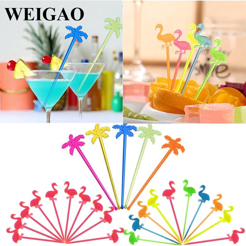 WEIGAO летние мешалки для соков, фруктовые пики, Гавайские украшения для пляжной вечеринки, Коктейльные Палочки для напитков