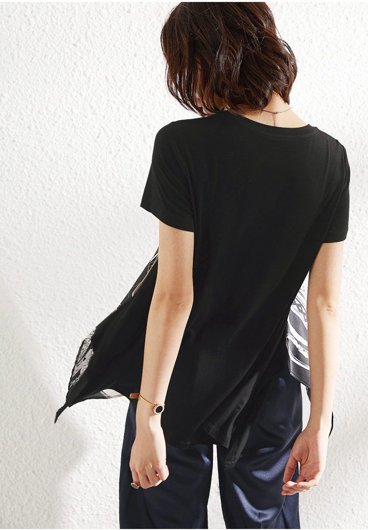 PIXY Printing Silk T Shirt Women Black Satin Tees Shirts Summer Modal Loose Ladies Tops Casual Oversized Pullover Short Sleeve in T Shirts from Women 39 s Clothing