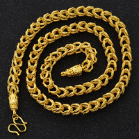 Male Necklace Chain 2018 New Fashion Necklaces 24K Gold Color Chain Necklace for Men Hollow Woven Winding Long Chain Jewelry