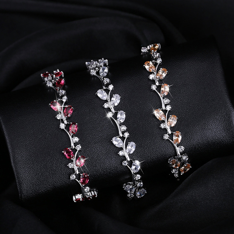 CWWZircons 6 Colors Options White Gold Color Handmade Austrian Crystal Rhinestone Purple Stones Bracelets Bangle for Women CB078