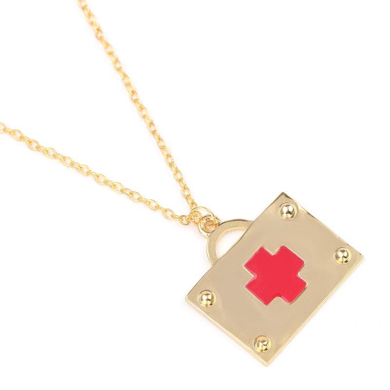 En gros 20 pièces trousse de premiers soins pendentif collier couleur or bijoux médicaux cadeaux créatifs pour infirmière médecins médecin Science