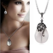 Fashion women opal water drop earrings and necklace Vintage jewelry sets Ethnic style wedding gifts wholesale