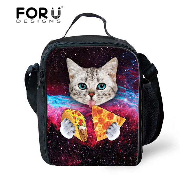 Forudesigns galaxy ruso estilo bolsas de almuerzo para niños niñas pizza cats tumblr inconformista triángulo bolsas de asas de aislamiento bolsa de picnic