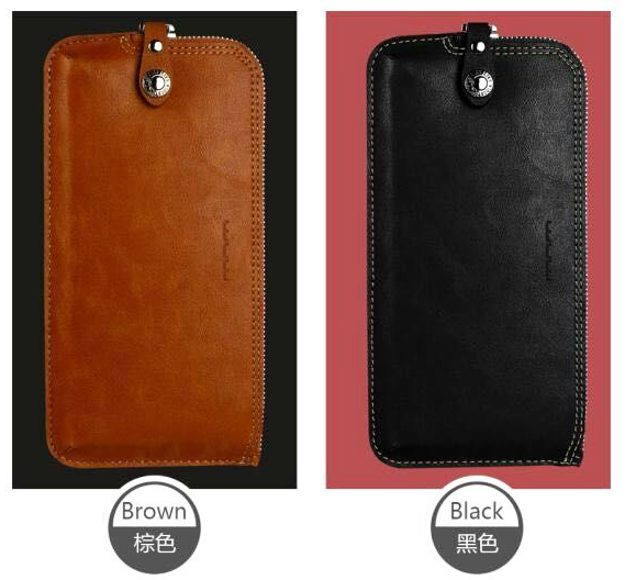 Synthetic Zipper Leather Card Wallet Mobile Phone Case