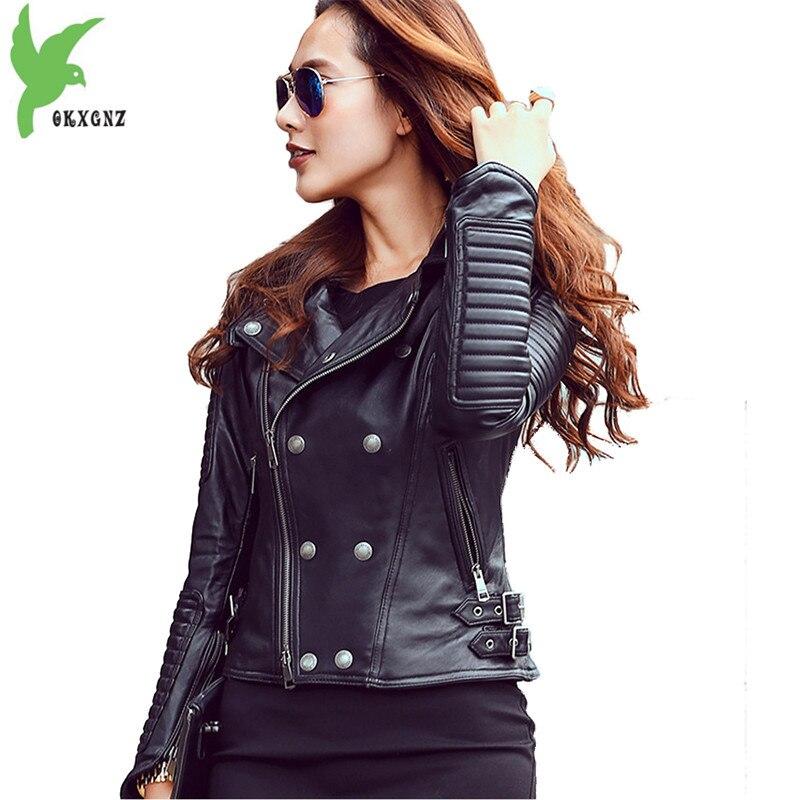 Pelle di pecora giacca corta delle donne di nuova Moto Tuta Sportiva di Modo Sottile giacche di Pelle Genuino femminile Casual top corto cappotti A2233