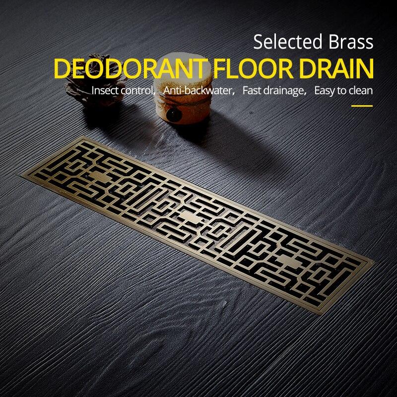 Drain 8*30CM Euro Antique Brass Art Carved Floor Drain Cover Shower Waste Drainer Bathroom Bath Accessories Strainer DL8030