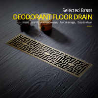 Drain 8*30CM Euro Antique Brass Art Carved Floor Drain Cover Shower Waste Drainer Bathroom Bath Accessories Strainer DL8030