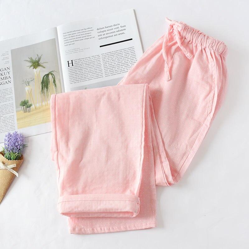 Весенние и летние домашние штаны для пары, женские хлопковые двойные газовые Тонкие штаны для сна, повседневные пижамы с принтом - Цвет: Pink white spots