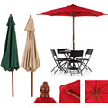 iKayaa US Stock Wooden 2.7M Patio Garden Umbrella Sun Shade Cafe Beach Parasol Canopy 8 Ribs 38MM Pole Air Vent 180g Polyester