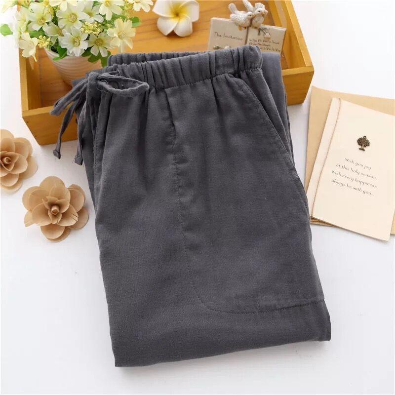 Новинка, хлопковые парные пижамные штаны, весна-лето, для мужчин и женщин, тонкие домашние штаны, свободные, большие размеры, хлопковые марлевые пижамные штаны - Цвет: Man gray