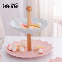 Yefine日本食品容器ボーンチャイナ皿とプレート磁器洋菓子フルーツトレイセラミック食器セットかわいいデザイ
