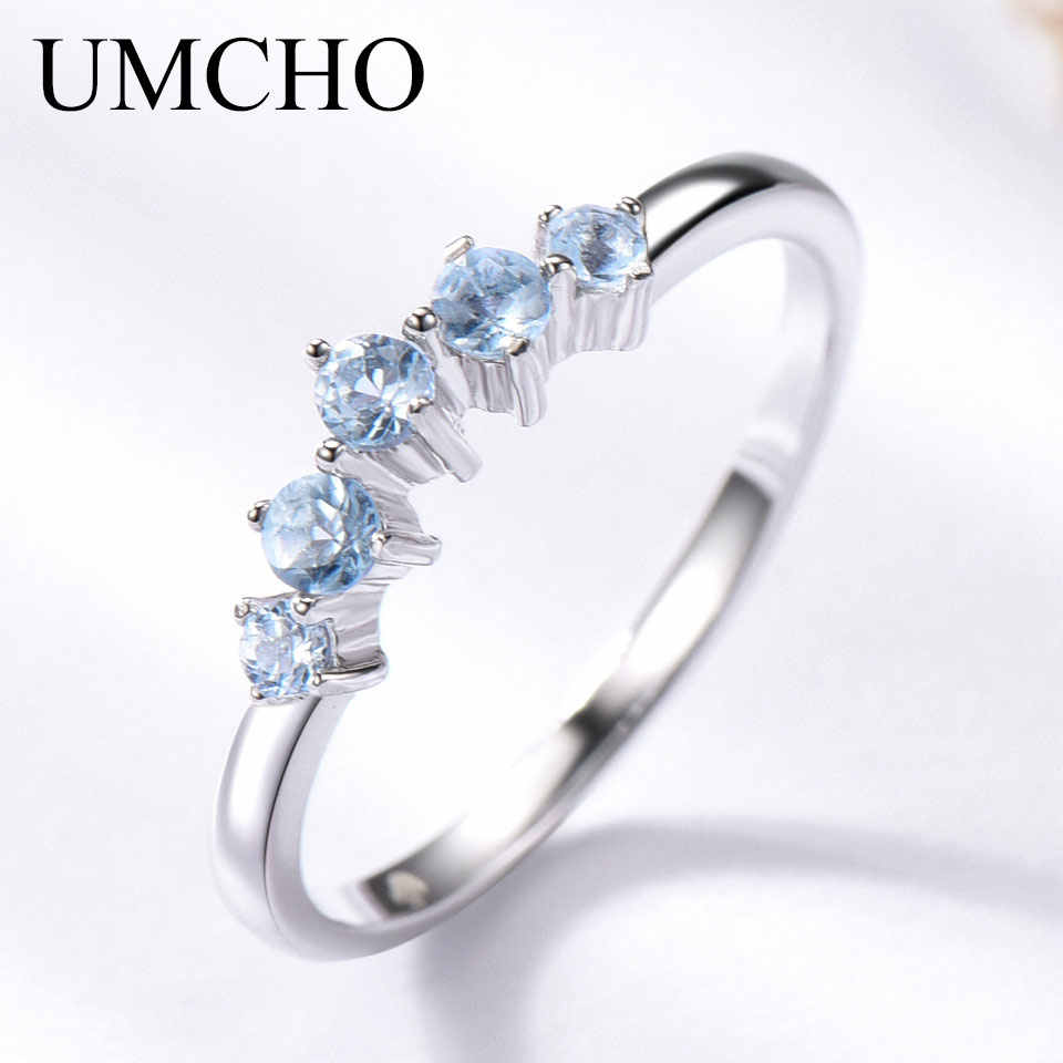 UMCHO Genuine Natural Sky Blue Topaz Ring For Women 925 Sterling Silver Engagement Wedding Stacking Ring Fine Jewelry New Gift