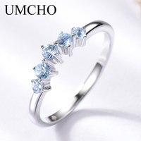 UMCHO натуральный, небесно-синий топаз кольцо для женщин стерлингового серебра 925 обручальное свадебное укладки кольцо ювелирные украшения н...