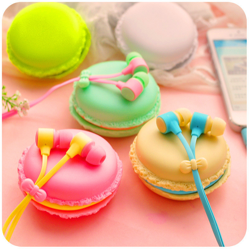 New Cute Macarons Candy Color Girls in-ear Earphones for iPhone Samsung Xiaomi for MP3 Player MP4 Mobile Phone Birthday Gift cute cartoon cat claw style in ear earphones for mp3 mp4 more blue white 3 5mm plug
