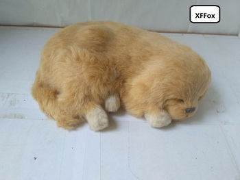 new real life sleeping dog model simulation breathing Golden Retriever dog doll gift about 26x20cm xf1602