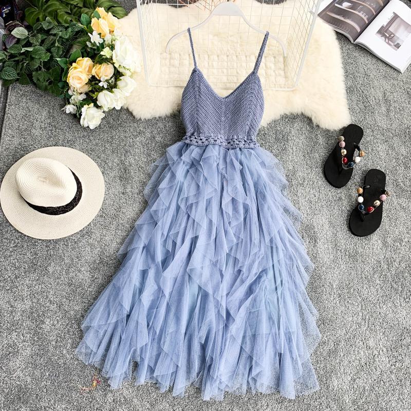 High Waist Mesh Hem Asymmetrical Pleated Tulle Dress 4