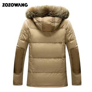 Image 5 - Мужская зимняя куртка на белом утином пуху, модная Толстая теплая парка с мехом, Повседневная Водонепроницаемая пуховая куртка, 90% пуха