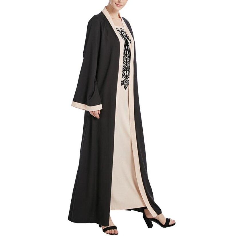 2018 Новая мода для взрослых женщин поддельные Двойка Дубай кардиган «абайя» принт мусульманские платья мягкая одежда, макси платье a686