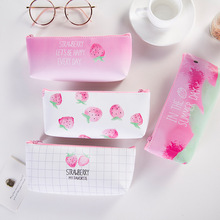Simple Strawberry pencil bag for girls Cute PU Leather Pencil case pen Pouch Office School Supplies Stationery gift Zakka strawberry overlay pencil case