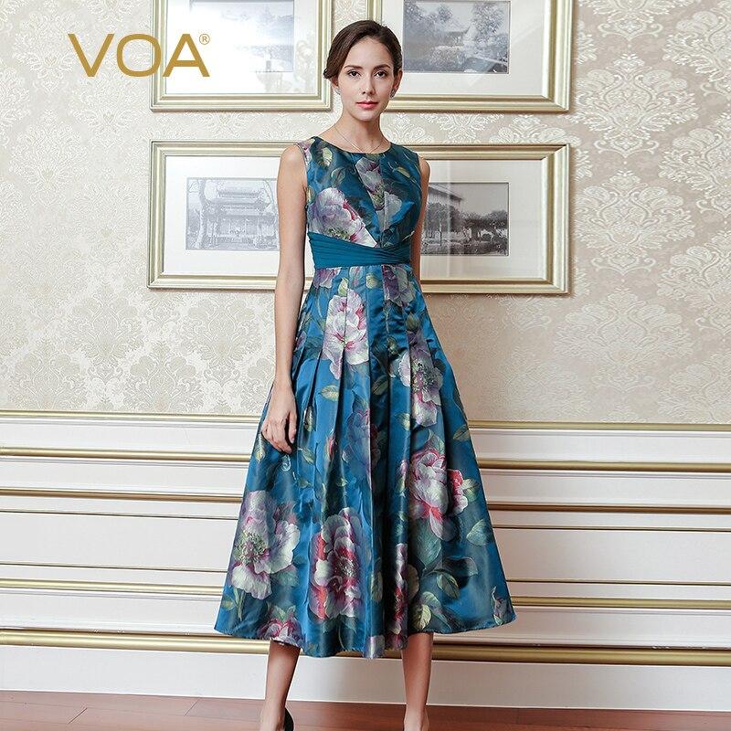 VOA Silk Yarn dyed Jacquard Dress Plus Size 5XL Women Dresses Chinese Style Elegant Vintage Slim Sleeveless Summer ALX10802