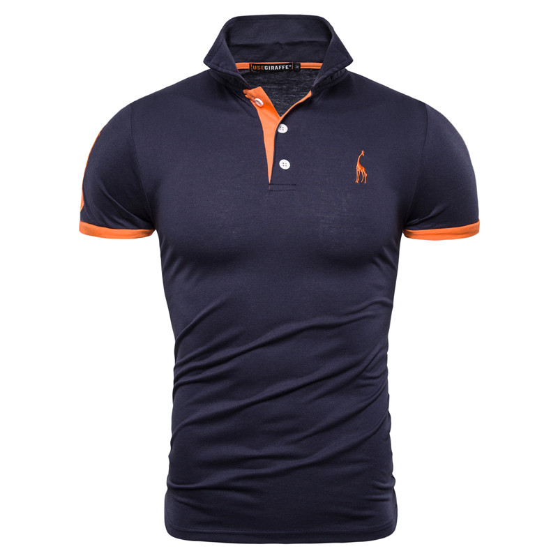 Dropshipping 16 Colors 100% Cotton   Polo   Giraffe Men's   Polos   Solid Slim Fit Embroidery Short Sleeve   Polo   Shirt Men US Size S-3XL