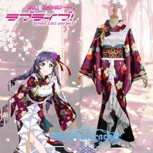 Free shipping Custom Made high qualtity Love Live Tojo Nozomi Uniform Girls kimono cosplay costume