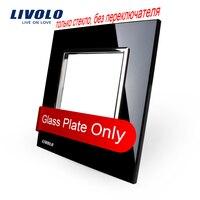 Free Shipping Livolo Luxury Black Pearl Crystal Glass 80mm 80mm EU Standard Single Glass Panel For