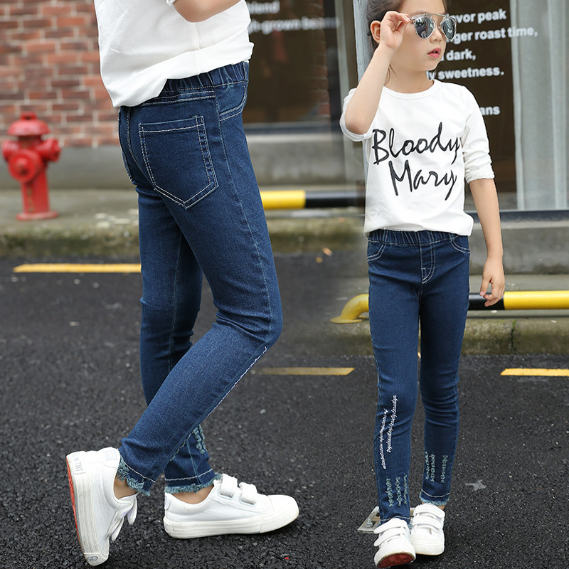 009215a5d Tommy Carino Fashion Baby Girl Jeans Embroidered Dark Blue Good Quality  Cotton Brand Skinny Denim Long Pants Dropship
