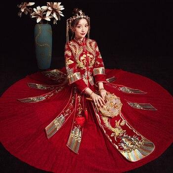 Bling Rhinestone High Quality Cheongsam Tang Suit Clothing Classic Red Formal&Phoenix Qipao Chinese Women Wedding Dress Vestidos