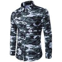 2017 Moda Primavera Camisa dos homens Camuflagem Militar Do Exército estilo Casual manga comprida Camisa Dos Homens Moda slim fit M-XXL