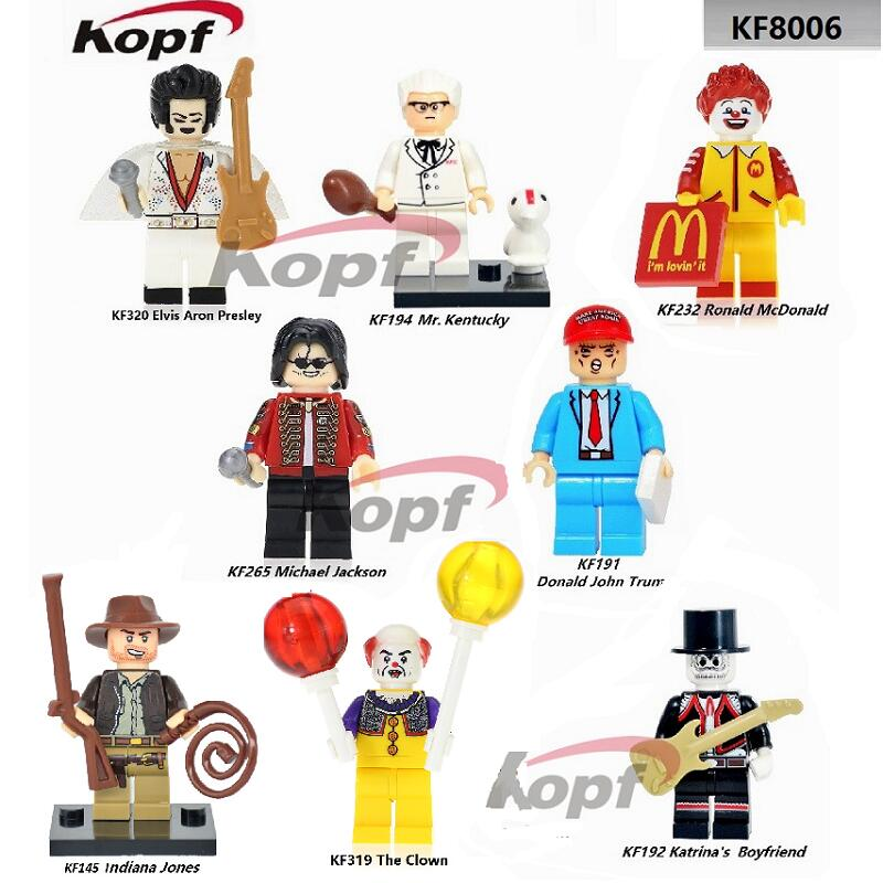 Super Heroes Indiana Jones Ronald McDonald Michael Jackson The Clown Pennywise Bricks Building Blocks Children Gift Toys KF8006 single sale super heroes red yellow deadpool duck the bride terminator indiana jones building blocks children gift toys kf928