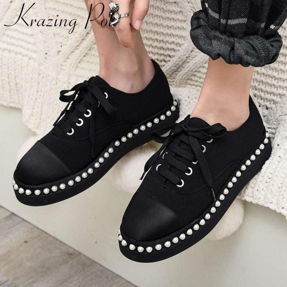 2019 nueva llegada Hada vintage británico estilo conciso punta redonda baja perlas decoración satén cordones zapatos de calle L44-in Zapatos de tacón de mujer from zapatos    1