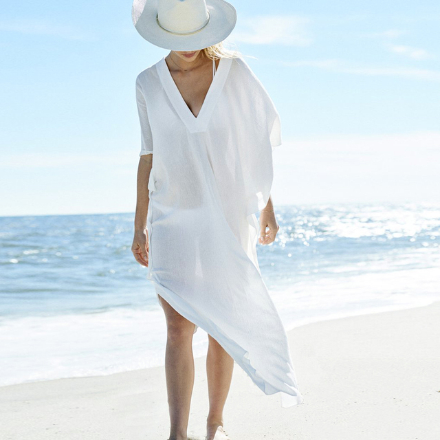 d02a34e1bdc1 Beach Cover up Sexy V neck Chiffon Swimwear Ladies Kaftan Beach Tunic Robe  De Plage Bathing Suit Coverups Saida de Praia-in Cover-Ups from Sports ...