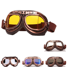 New Helmet Glasses Motorcycle ATV Flying Goggles Vintage Pilot UV Biker Protective Sports Skiing
